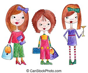 Girls. Handmade illustration