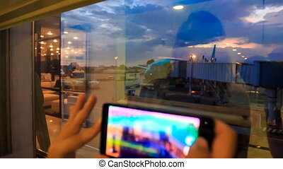 Girl's Hands Iphone Screen Reflect - closeup girl's hands...
