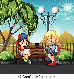 Girls hanging out at the park illustration