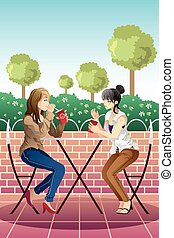 Girls hanging out together - A vector illustration of...