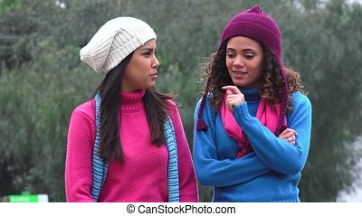 Girls Happiness And Friendship Cold Weather