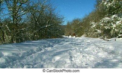 Girls Has A Fun In Snow