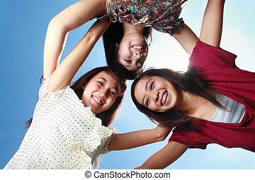 girls having fun with friends