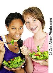 Girls having salad