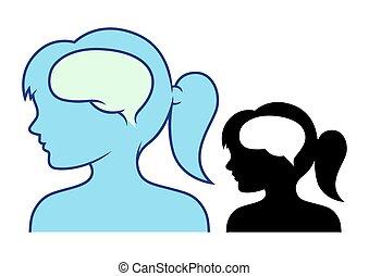 Girl's head and brain
