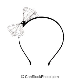 A vector of a girl's headband with a striped bow