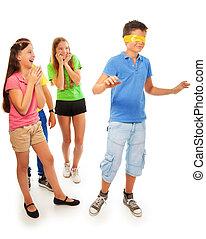 Girls hiding from boy with hidden eyes