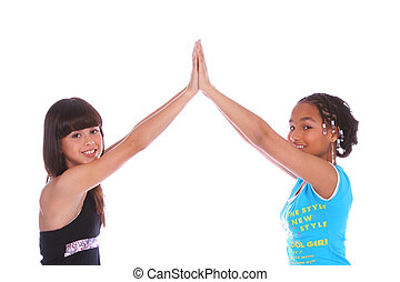 Girls High Five Close Up