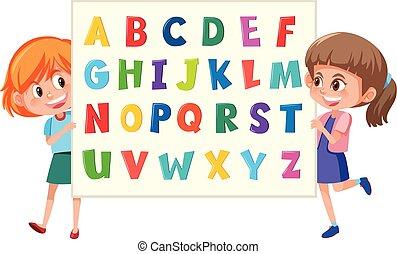 Girls holding english alphabet