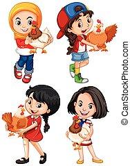 Girls hugging cute chicken illustration
