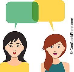 Girls Icons with Dialogue Bubbles