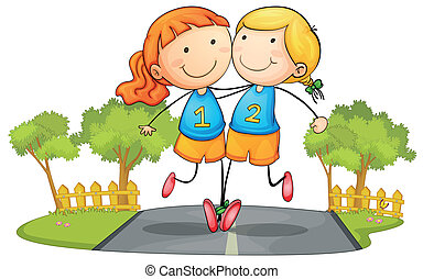 girls - illustration of two girs running on road