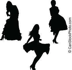 girls in beauty dress - vector