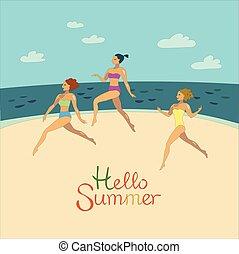 girls in bikini are running on the beach