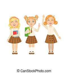 Girls In Brown Skirts Happy Schoolkids In Similar Collection...