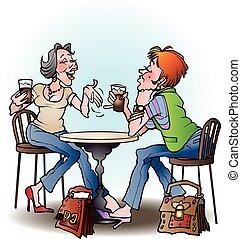 Girls in Cafe cartoon