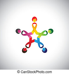 girls in circle with colorful cancer safety bows - concept...