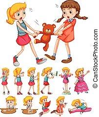 Girls in different activities