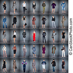 girls in different clothes, collection from 35 pieces