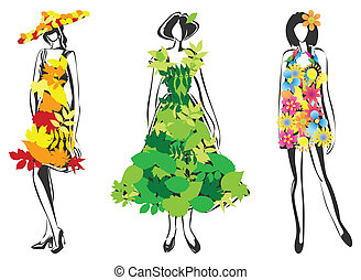 Girls in dresses from leafs and flowers. A vector illustration