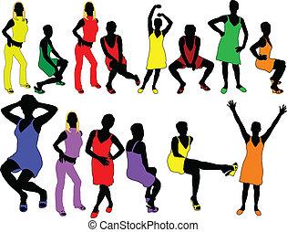 girls in happy colors - vector