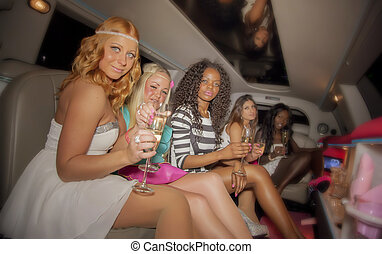 girls in limo - girls party in limo