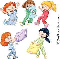 Girls in pajamas at slumber party illustration