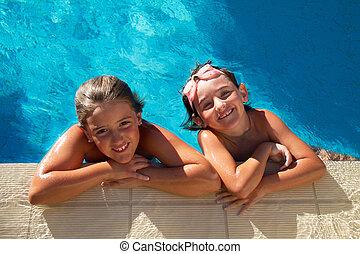 Girls in pool