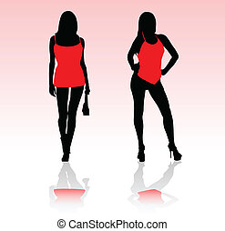 girls in red dress vector silhouett