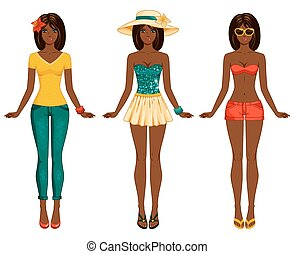Girls in summer clothes. Vector illustration. - Female body...