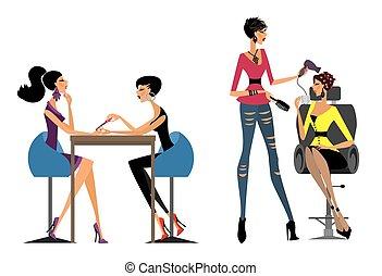 Girls in the beauty salon