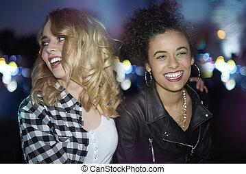 Girls in the festival mood