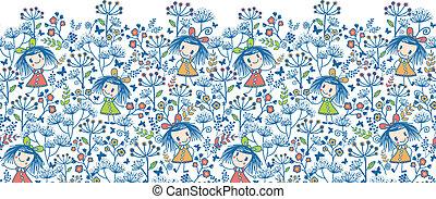 Girls in the flower garden horizontal seamless pattern background