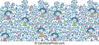 Girls in the flower garden horizontal seamless pattern background