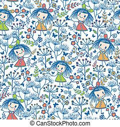 Girls in the flower garden seamless pattern background