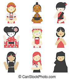 Girls in traditional clothes flat icons - Flat icons...