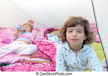girls inside camping tent sisters happy two
