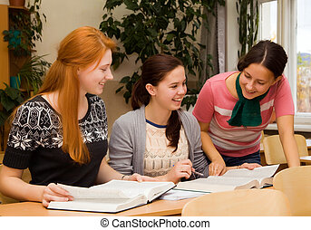 Girls involved in college - Girls involved in the study of...