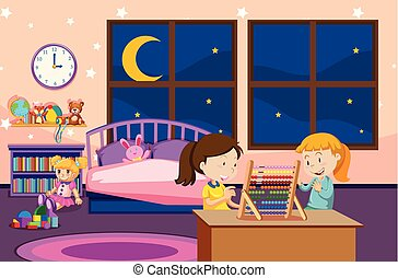 Girls learning abacus in bedroom