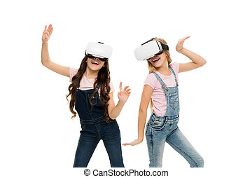 Girls little kids wear vr glasses white background. Virtual education concept. Modern life. Interaction in virtual space. Cyber gaming. Augmented reality technology. Virtual reality is exciting