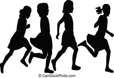 girls lopen, vector, silhouette