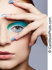 girl's make-up close-up
