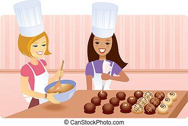 Two girls making chocolate