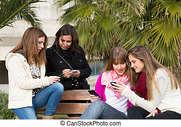 Girls mobile - Girls gathered at the university to send ...