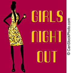 Girls Night Out - Illustration of a young woman in a shiny...