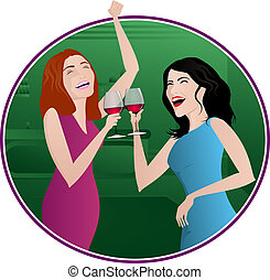 Girls Night Out - Two women laughing and drinking wine