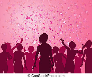 Illustration of a girls enjoying a fabulous party
