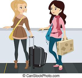 Girls on a Walkalator 1 - Illustration of Girls wearing a...