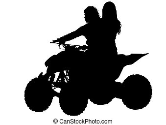 Girls on ATV - Vector drawing of girls on ATV