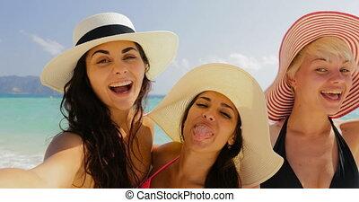 Girls On Beach Taking Selfie Photo On Cell Smart Phone,...